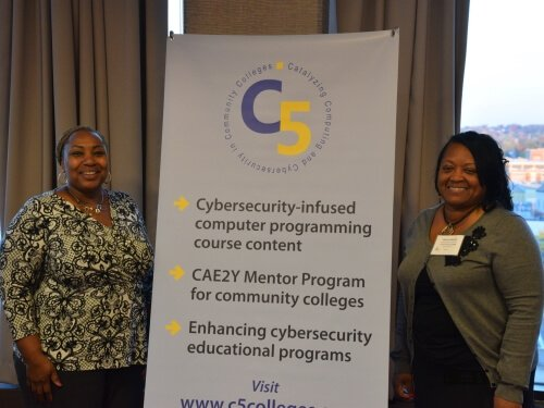 Mentors Marrci Conner of Henry Ford College and Dr. Deanne Cranford-Wesley of Forsyth Technical Community College attend the November 8 reception held by the C5 Mentee Program. Photo courtesy of Jesse Wesley.
