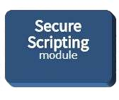 Blue button representing the Secure Scripting module